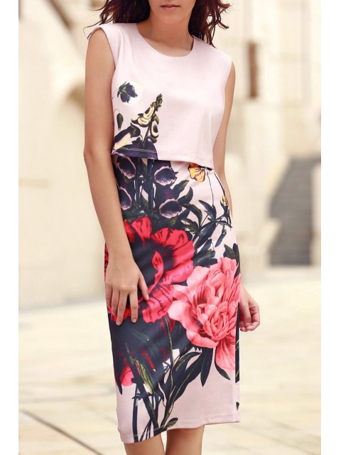 shops Floral Print Round Collar Sleeveless Dress - PINK M Mobile