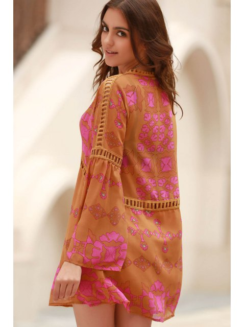 chic Printed V-Neck Long Sleeve Lacework Splicing Dress - EARTHY L Mobile