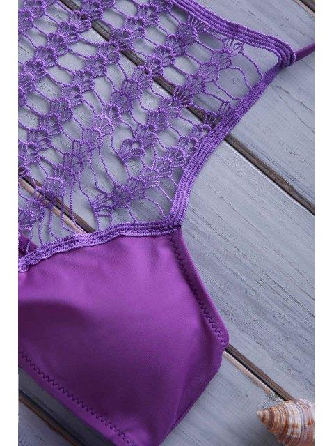 online Crochet Spliced High Neck Bikini Set - PURPLE S Mobile