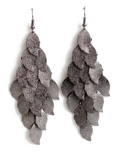 fancy Exquisite Multi-Layered Leaf Shape Earrings - BLACK  Mobile