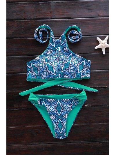 Green Print High Neck Bikini Set - Green