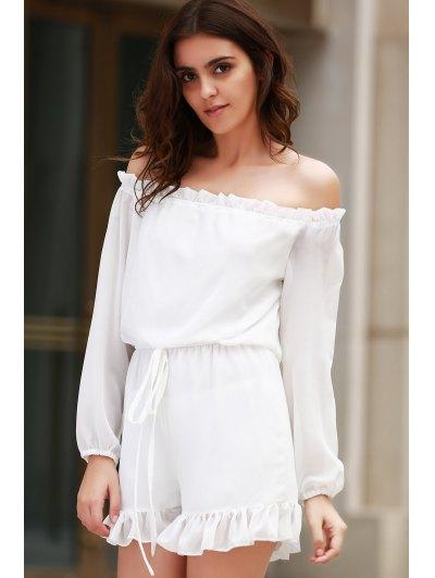 Solid Color Off The Shoulder Long Sleeve Romper - WHITE XL Mobile