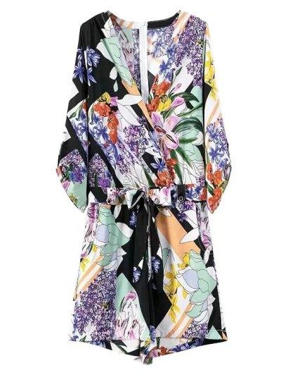Floral Print V Neck 3/4 Sleeve Romper - BLUE M Mobile