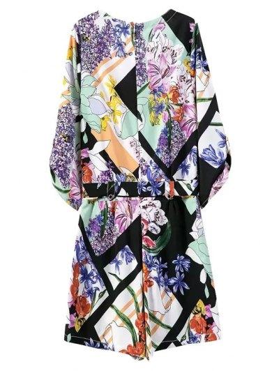 Floral Print V Neck 3/4 Sleeve Romper - BLUE L Mobile