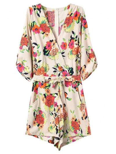 Casual Flower Print V Neck 3/4 Sleeve Playsuit - OFF-WHITE M Mobile