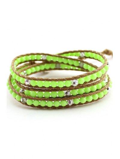 Bead Multi-Layered Wrap Bracelet - GREEN  Mobile