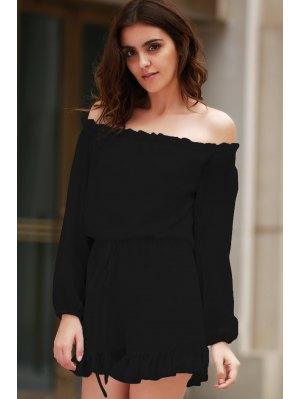 Solid Color Off The Shoulder Long Sleeve Romper - Black