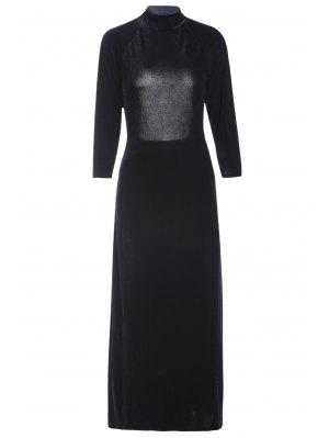 High Slit Mock Neck Velvet Backless Dress - Black