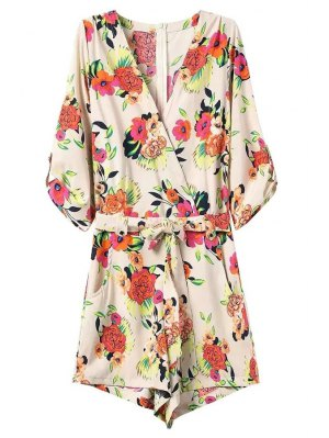 Casual Flower Print V Neck 3/4 Sleeve Playsuit - Off-white