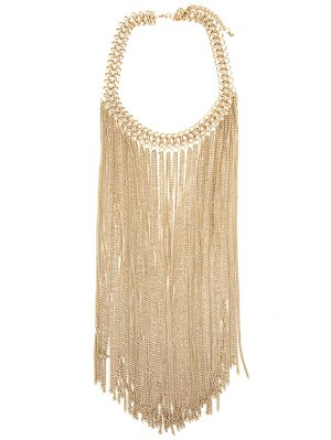 Link Chain Fringed Necklace - Golden