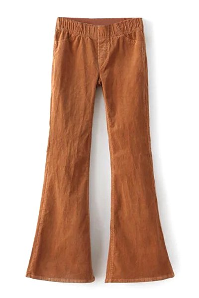 Low Waist Stretchy Pleuche Wide Leg Pant