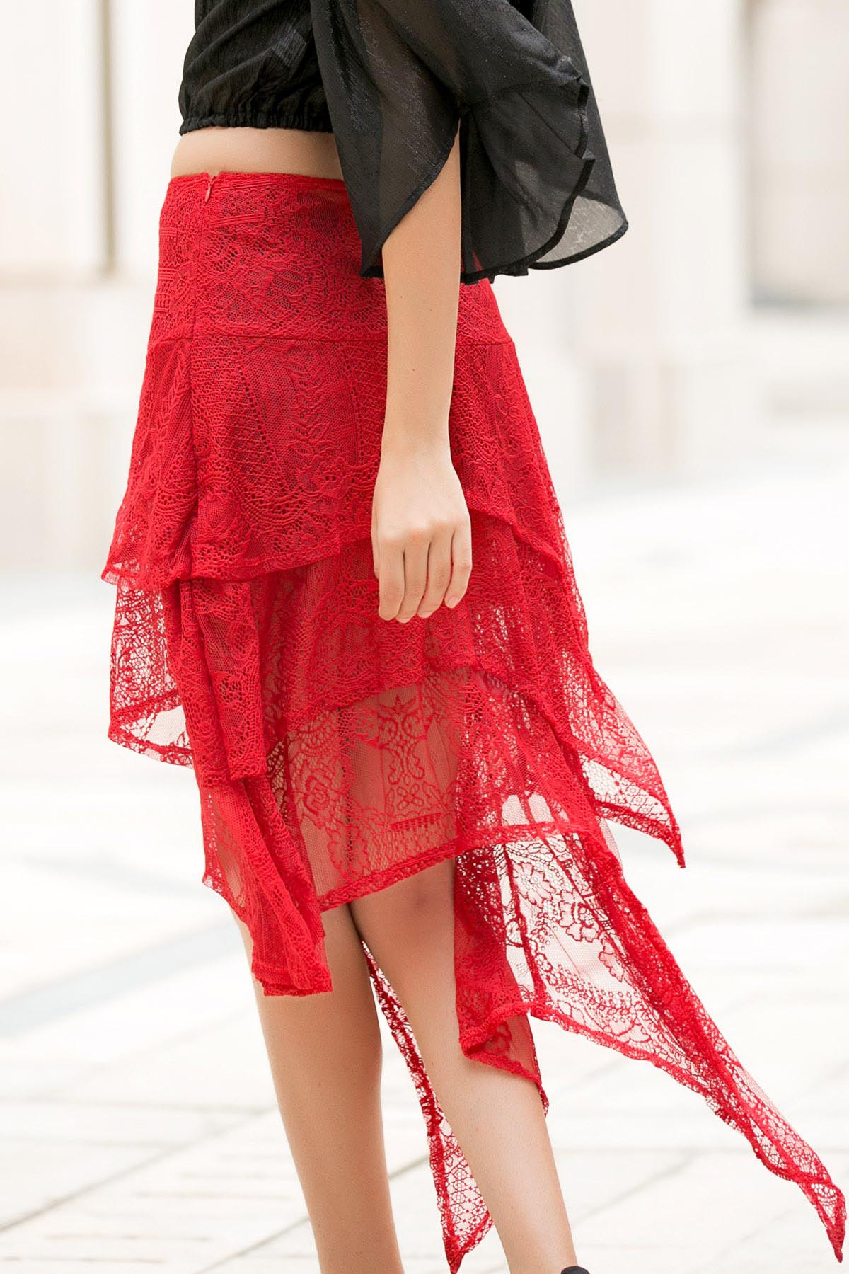 Solid Color Asymmetric Lace Skirt