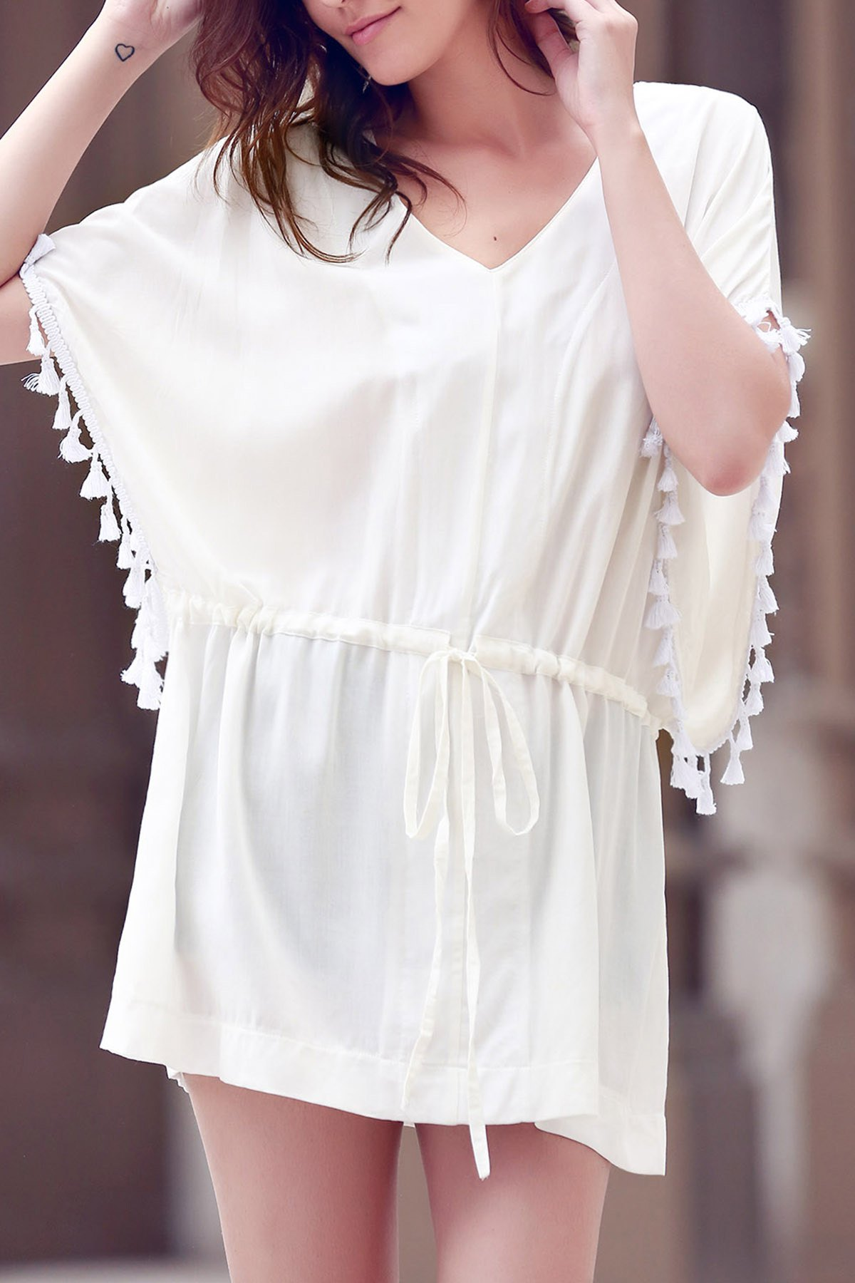 Solid Color V-Neck Batwing Sleeve Drawstring Dress