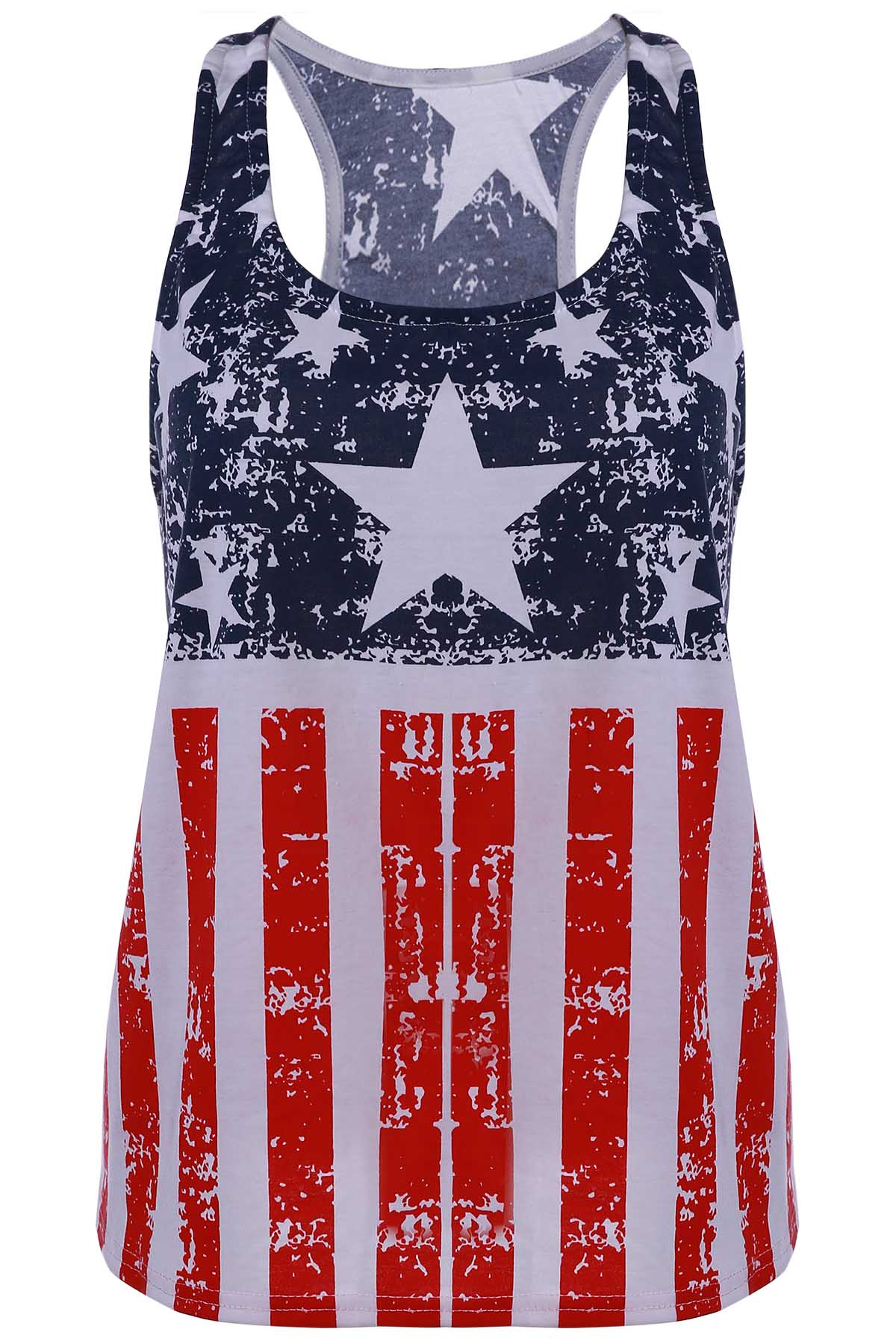 Scoop Neck Sleeveless American Flag Print Tank Top