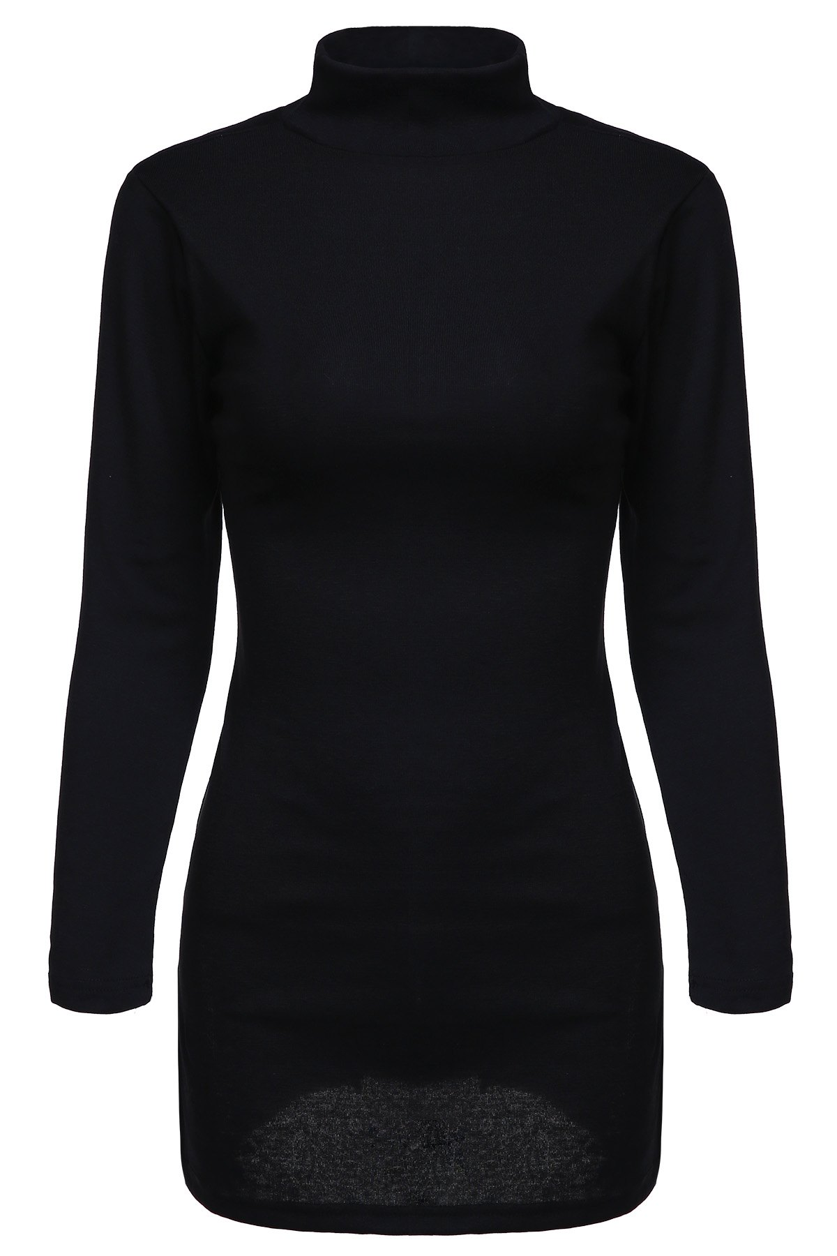 Black Side Slit Turtle Neck Long Sleeves T-Shirt