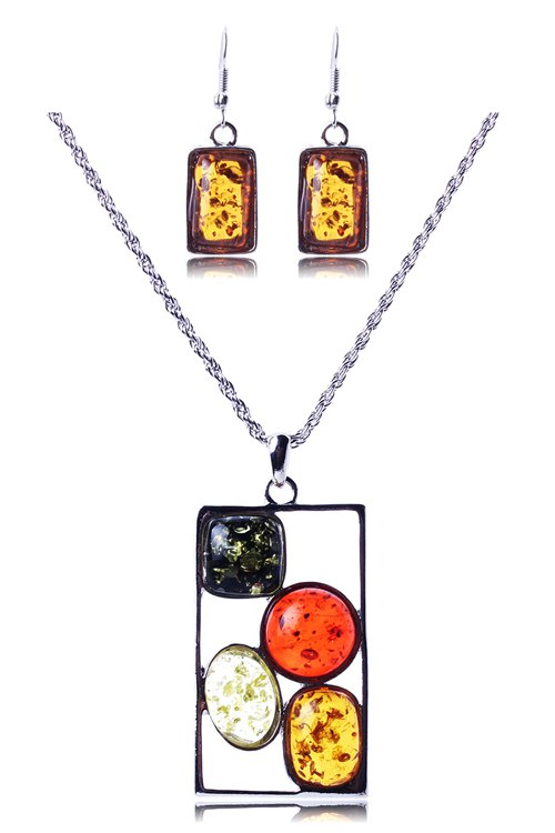 Geometric Faux Amber Necklace and EarringsAccessories<br><br><br>Color: SILVER
