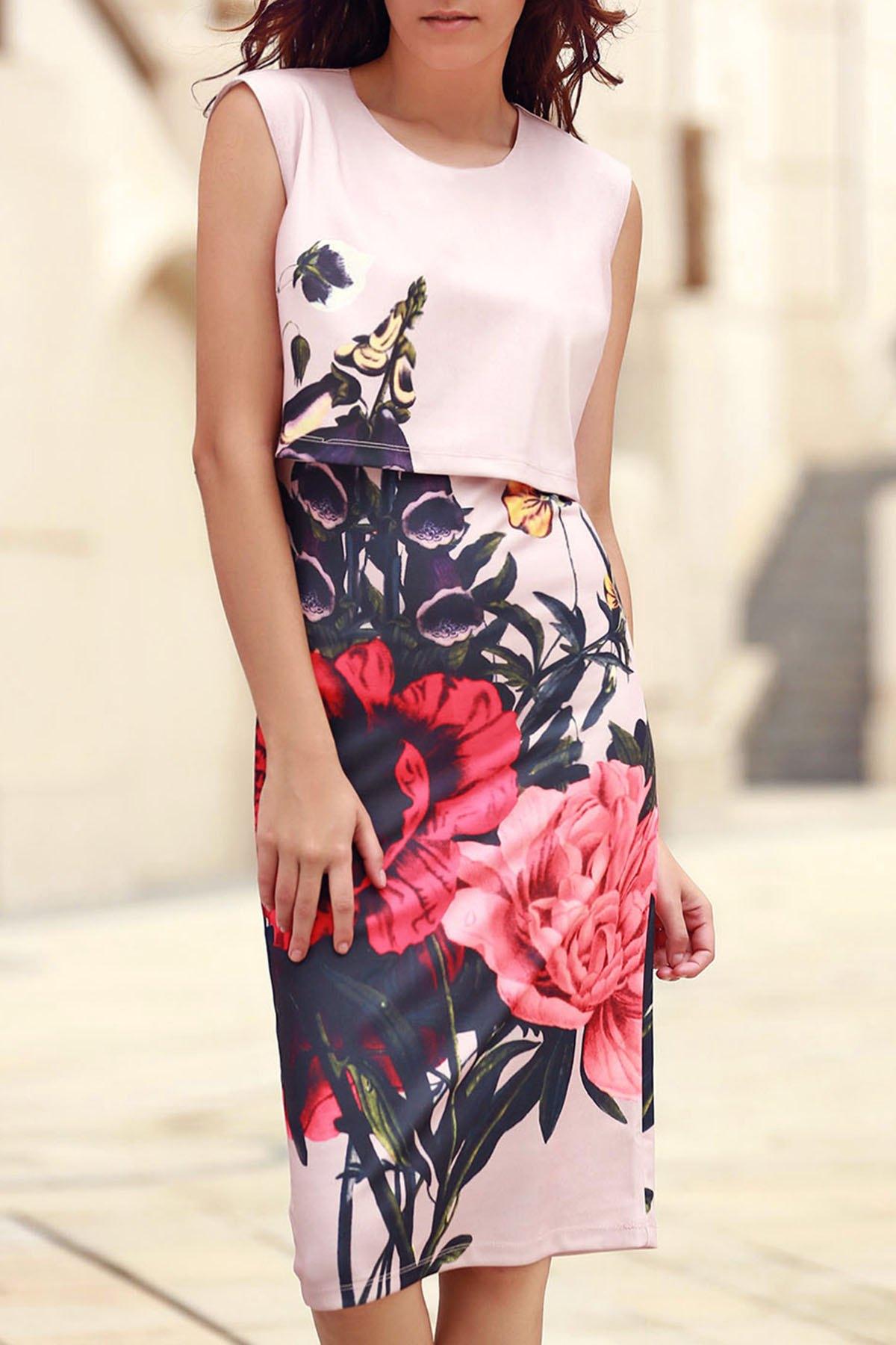 Round Collar Sleeveless Floral Print Dress
