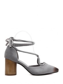 Cross-Strap Flock Chunky Heel Pumps