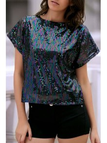 Short Sleeve Sequined Sparkly T-Shirt