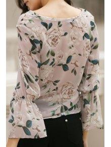 Flower Print V Neck Flare Sleeve Chiffon Blouse