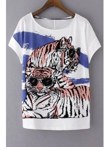 Loose Tiger Print Round Neck Short Sleeve T-Shirt