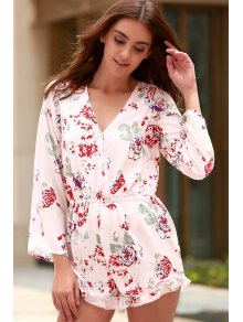 Cross-Over Collar Long Sleeve Floral Playsuit - Pink S