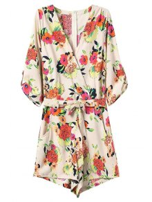 Casual Flower Print V Neck 3/4 Sleeve Playsuit