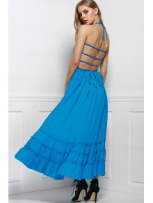 Solid Color Open Back Halter Sleeveless Dress