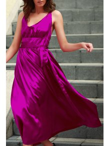 Silky Deep V Neck Prom Dress - Rose Xl