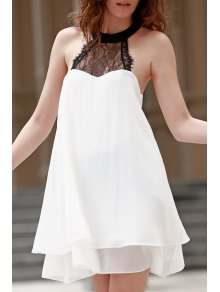 Double-Layered Halter Lace Spliced Chiffon Dress