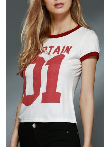 Letter Print Round Collar Short Sleeve T-Shirt