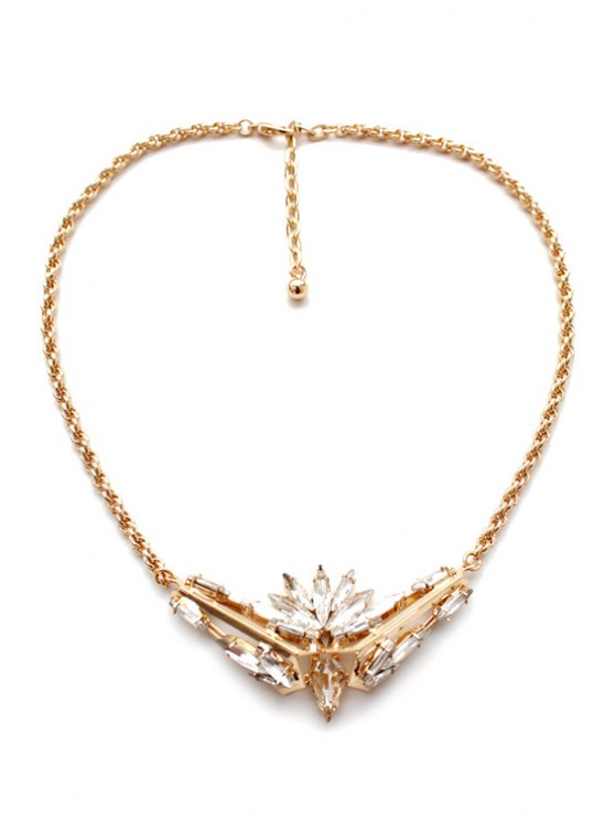 Noble Faux Ctystal Decorated Floral Necklace -   Mobile
