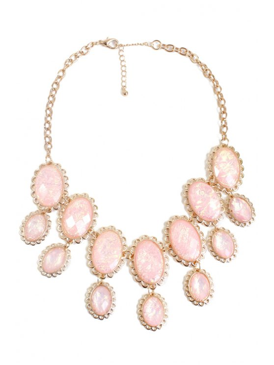 Oval Faux Gemstone Necklace - PINK  Mobile