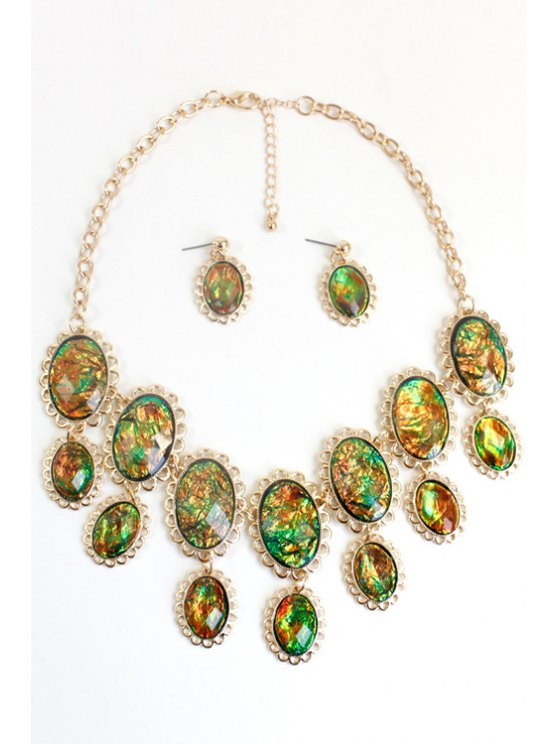 Oval Faux Gemstone Necklace -   Mobile