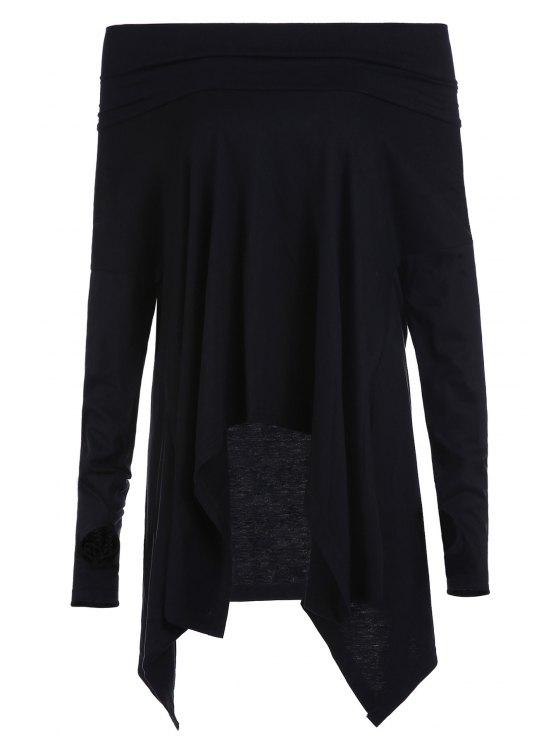 Cuello de la capucha dobladillo irregular de la camiseta - Negro M