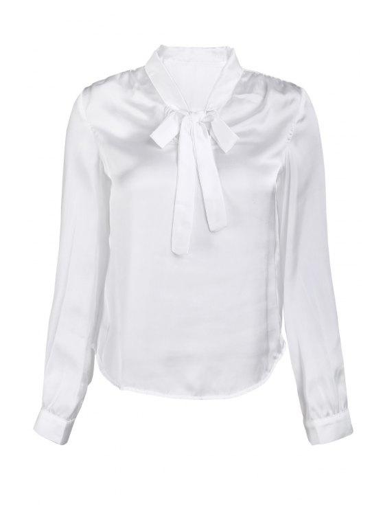 Solide Couleur V-Neck manches longues Lace Up Blouse - Blanc M