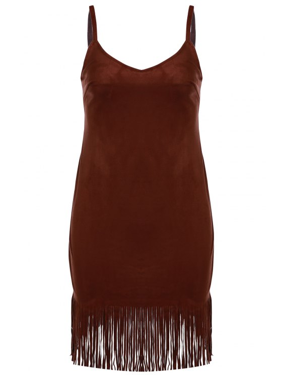 best Spaghetti Strap Fringed Suede Dress - BROWN S