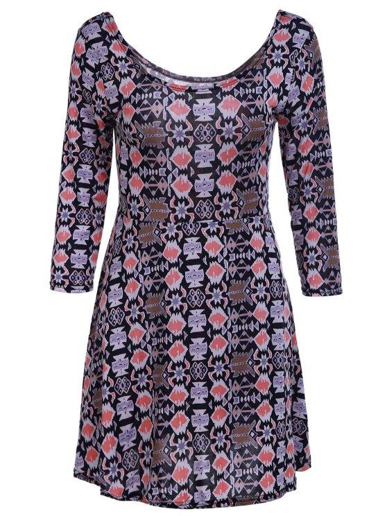 affordable Geometric Print Scoop Neck 3/4 Sleeve Dress - KHAKI L