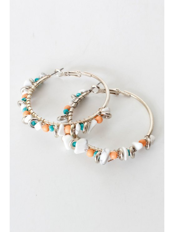 Bohemia Bead Hoop Earrings - SILVER  Mobile