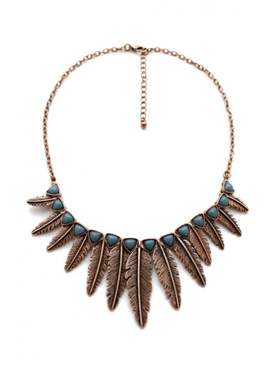 Leaf Shape Pendant Necklace -   Mobile