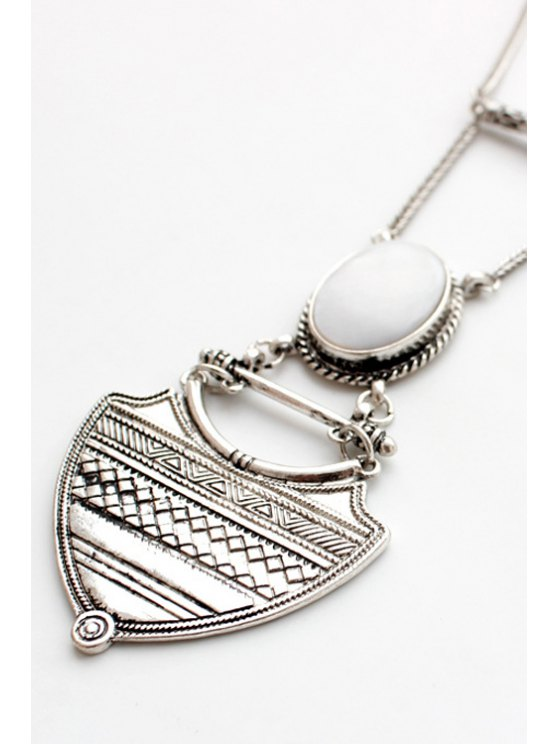 Vintage Alloy Geometric Pendant Sweater Chain -   Mobile