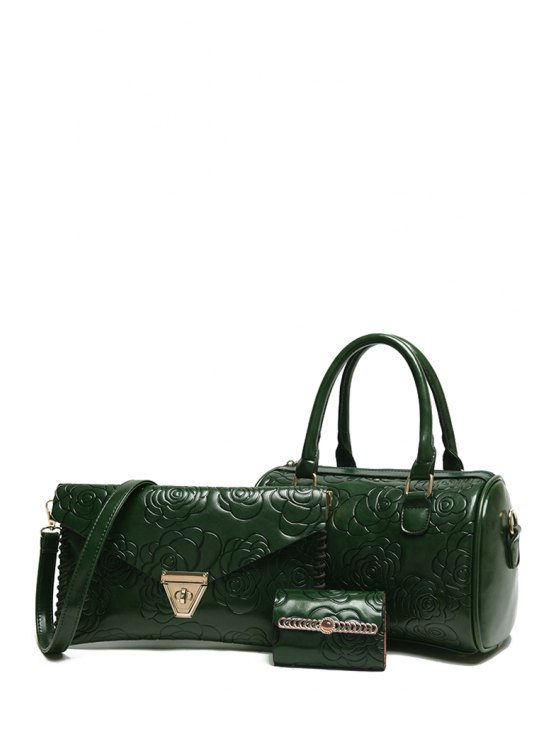 online Floral Embossing Solid Color Tote Bag - GREEN
