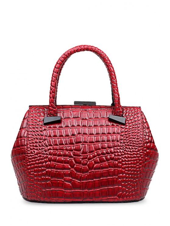 fancy Crocodile Print Clip Closure Tote Bag - WINE RED