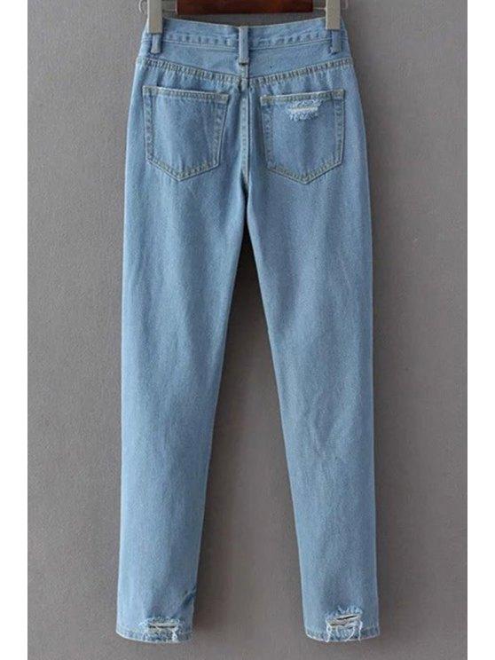 Broken Hole Narrow Feet Jeans - LIGHT BLUE XL Mobile