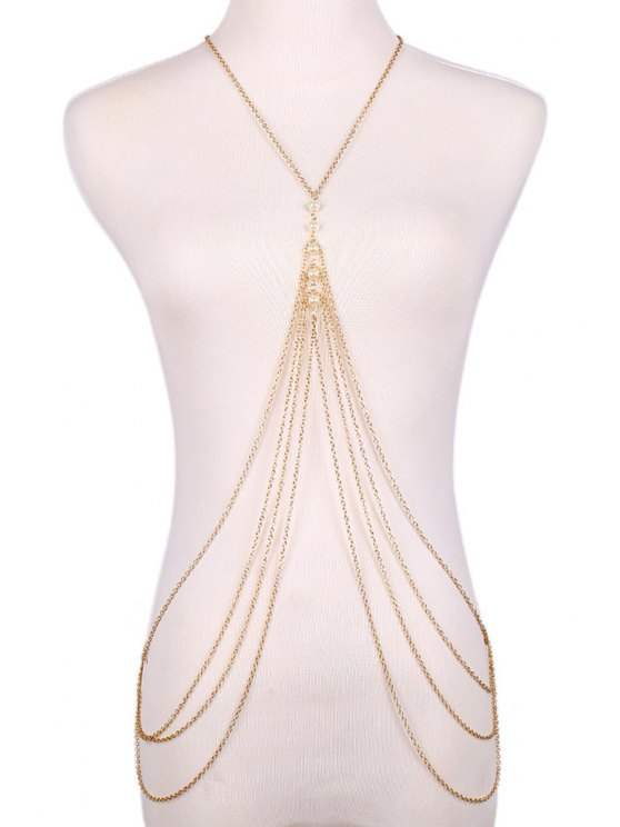fashion Faux Pearl Decorated Multi-Layered Body Chain - GOLDEN