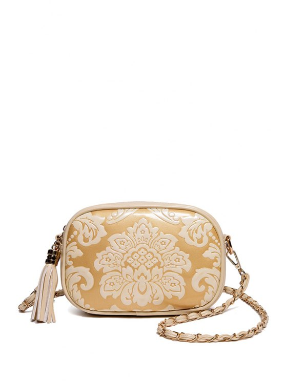 Floral Embossed Chains Tassel Crossbody Bag OFF-WHITE Bags | ZAFUL