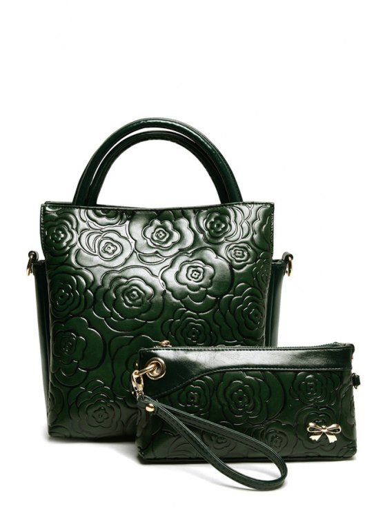 womens Floral Embossing Solid Color Tote Bag - GREEN