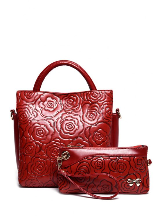 buy Floral Embossing Solid Color Tote Bag - WINE RED