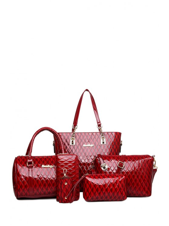 trendy Letter Checked Patent Leather Shoulder Bag - WINE RED