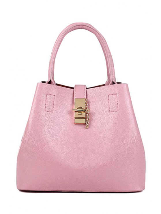 Metallic Hasp Solid Color Tote Bag - PINK  Mobile